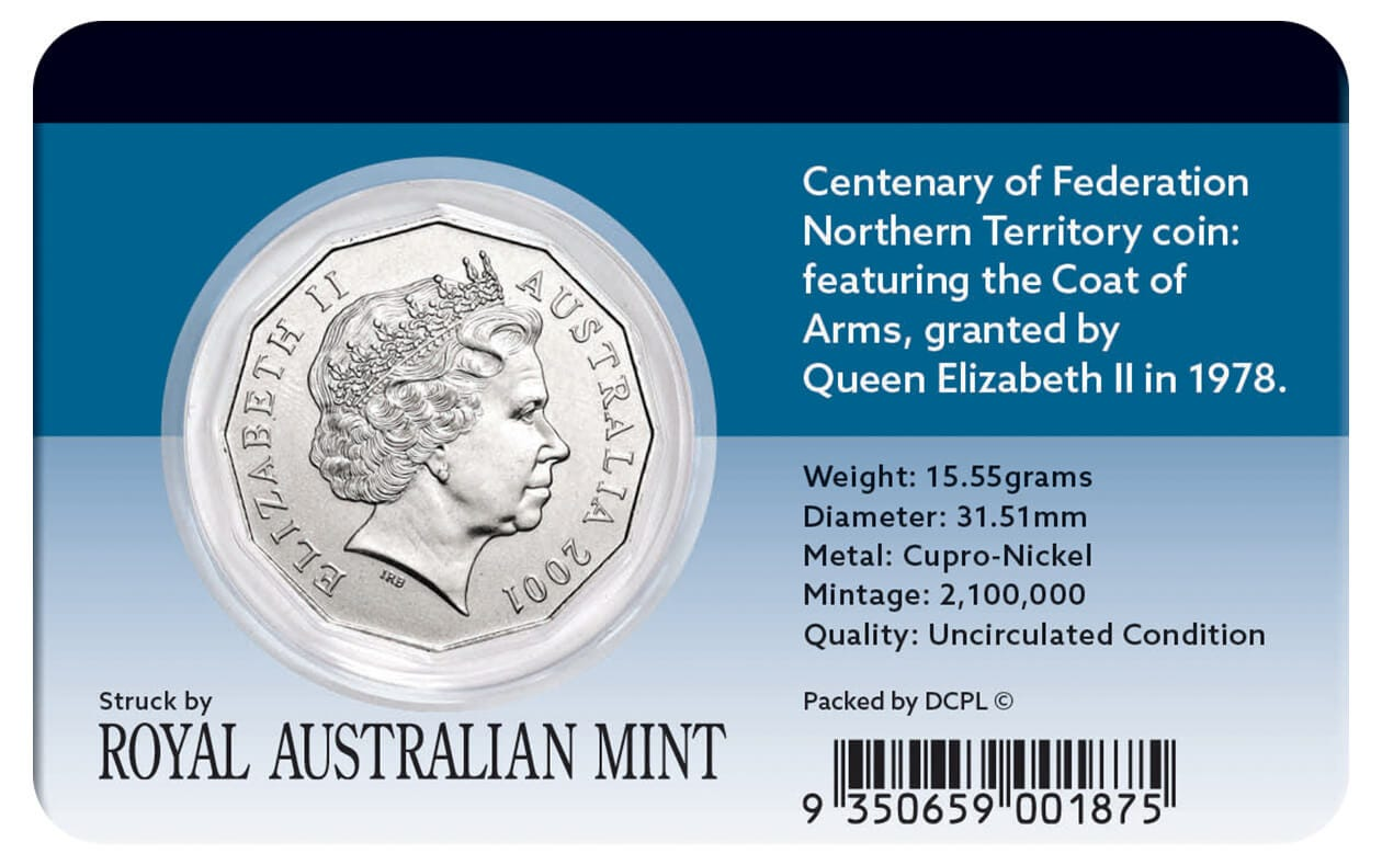 N.T 2001 Federation 50c Coin Coat of Arms of Territory UNCIRCULATED MINT CON