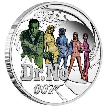 James Bond Dr. No 2021 Half Dollar 1/2oz Silver Coloured Proof Coin