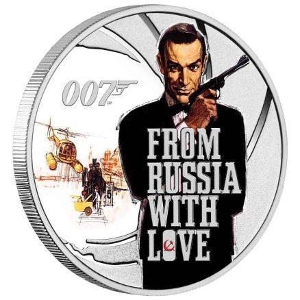 James Bond From Russia With Love 2021 Half Dollar 1/2oz Silver Coloured Proof Coin
