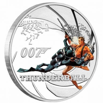James Bond Thunderball 2021 50c Colour 1/2oz Silver Proof Coin