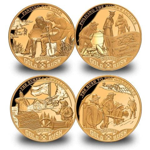 Australian Gold Rush $1 Four-Coin Set