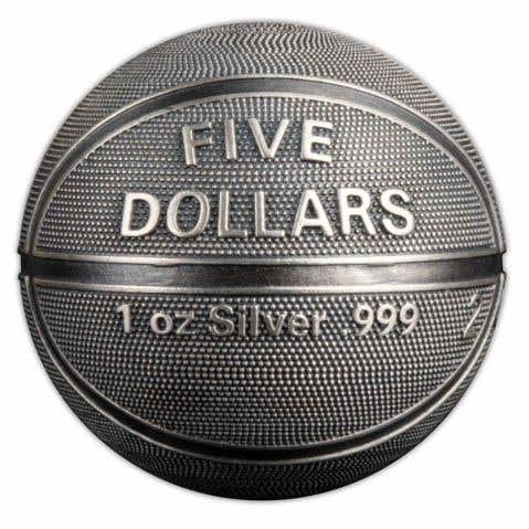 Basketball-shaped 2021 $5 1oz Silver Antique Coin