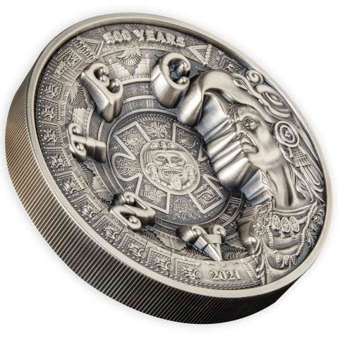 Aztec Empire 2021 $25 1kg Silver Antiqued Coin