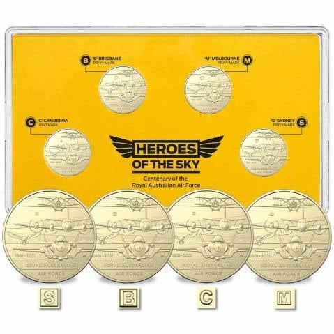 Centenary of the RAAF 2021 $1 Mintmark & Privymark Aluminium-Bronze Uncirculated 4-Coin Set