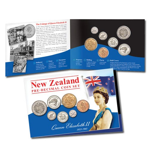 NZ 1953-65 Elizabeth II Predecimal Coin Set