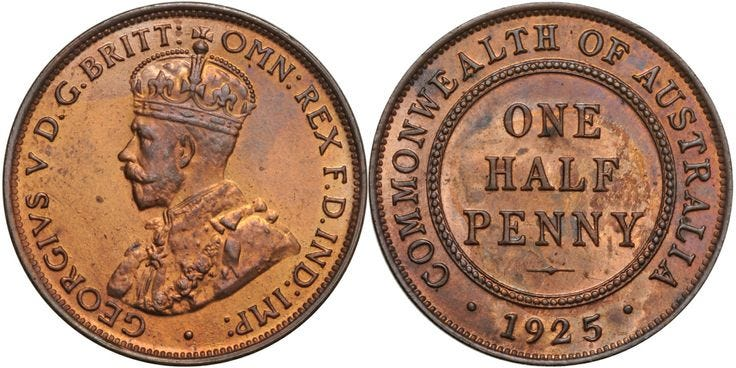 1925 Halfpenny Proof FDC