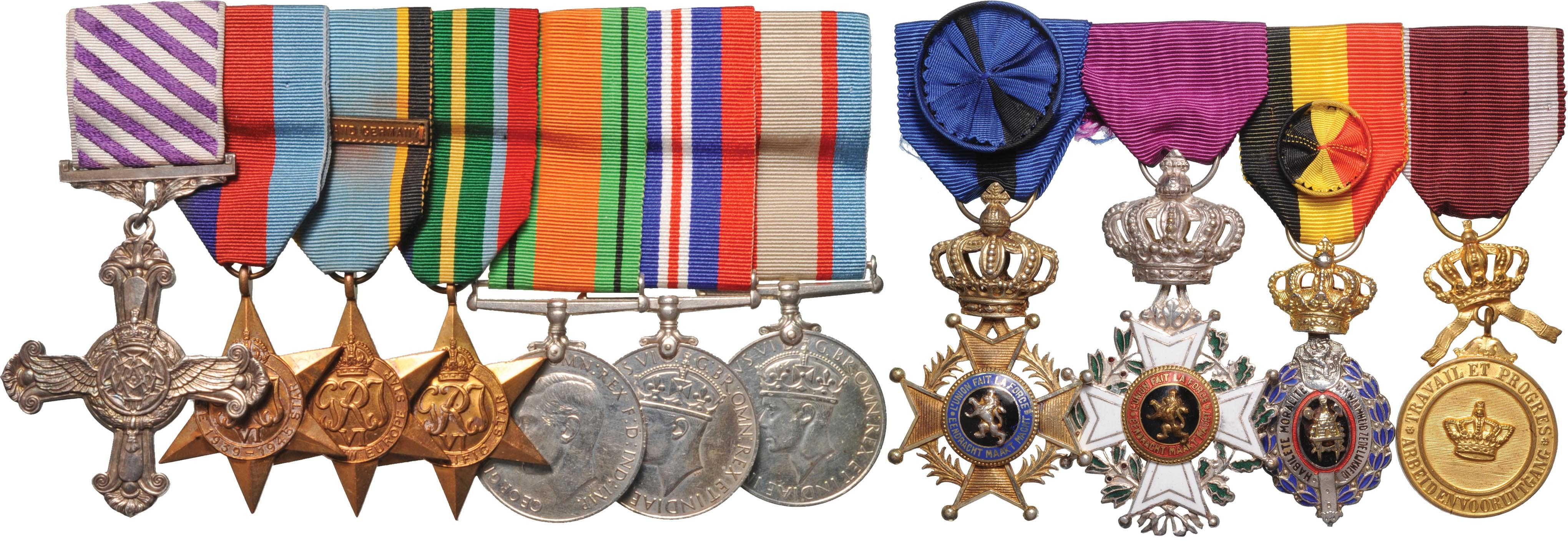 Lot 3106 - WWII DFC Group of Seven to an Australian Wing Commander, with group of four post-War Belgian decorations to the same recipient.