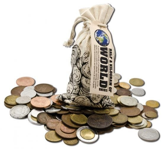 A Half Kilo of World Coins Loot Bag, available at Downies' Melbourne store for $29.95. The cloth bag rests upon an array of world coins of different shapes and sizes.