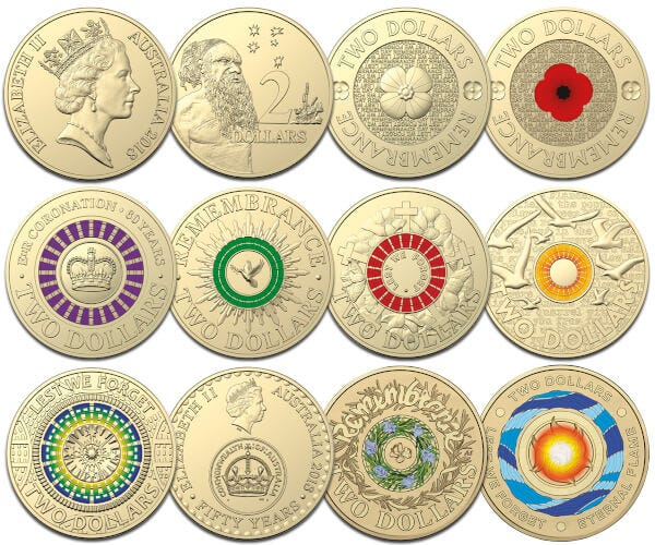 30th Anniversary of the Two Dollar Coin - 2018 $2 Twelve-Coin Colour Aluminium-Bronze Uncirculated Set