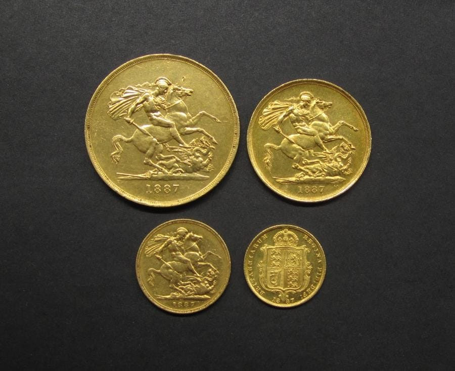 Great Britain 1887 Queen Victoria Golden Jubilee 4 Gold Coin Set, in-store now at Downies Coins