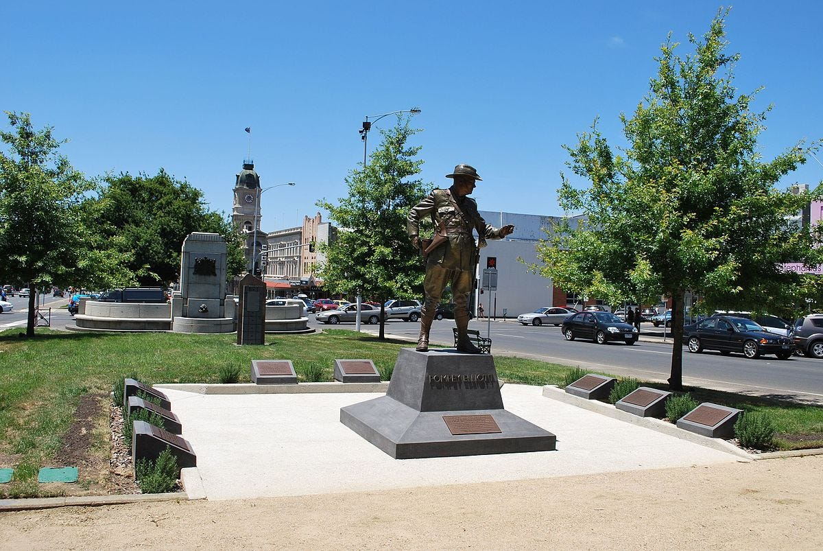 "A statue of Australian war hero Harold ""Pompey"" Elliott, standing under blue skies at Ballarat, Victoria, where he spent much of his childhood."