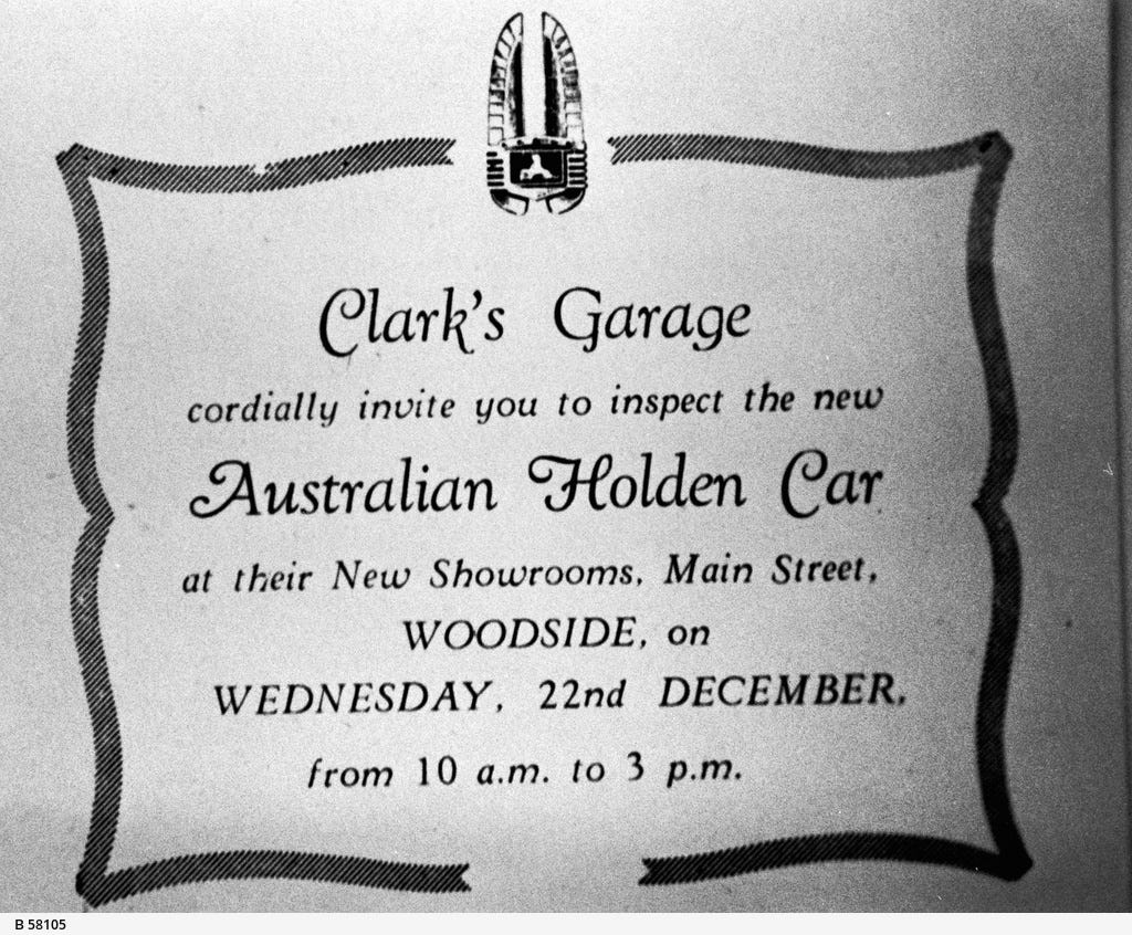 an invitation to view the new Holden automobile, c. December 1948