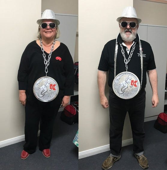 Kath and Ken in matching Kidney Health-inspired outfits at the 2017 Kidney Kar Rally