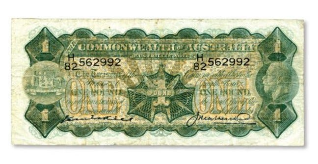 This 1927 Kell-Heathershaw one pound bank note is in Very Good to about Fine quality.