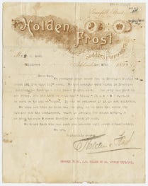 A letter signed by Holden & Frost confirming an order of saddles to be sent to South Africa, dated December 20, 1899