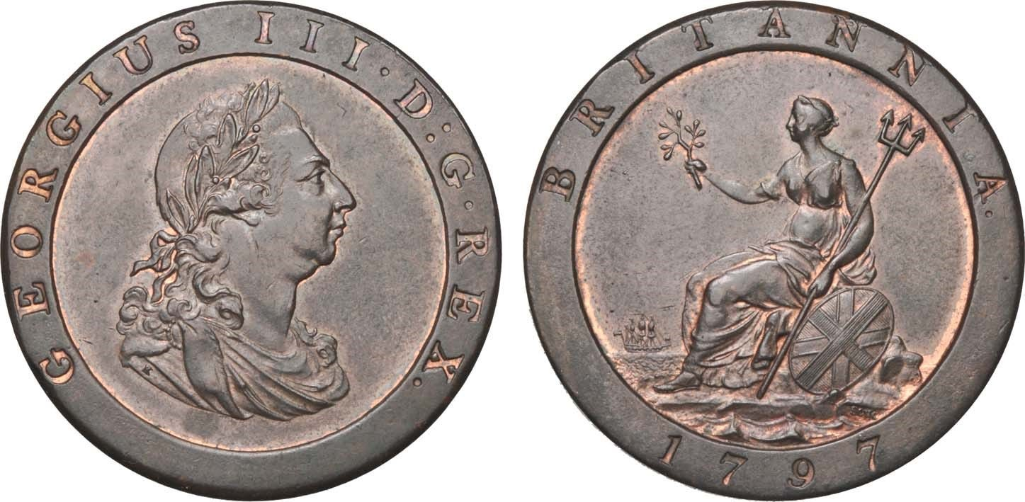 Obverse and reverse of the 1797 'Cartwheel' Penny, one of the most critical Proclamation coins.