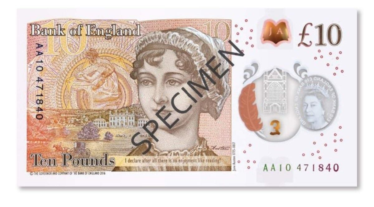 The Bank of England's new ten pound note, released in September 2017, and featuring famous English author Jane Austen